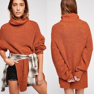 NEW Free People Eleven Turtleneck Sweater Cocoa